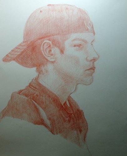 portrait of my pensive son, aaron