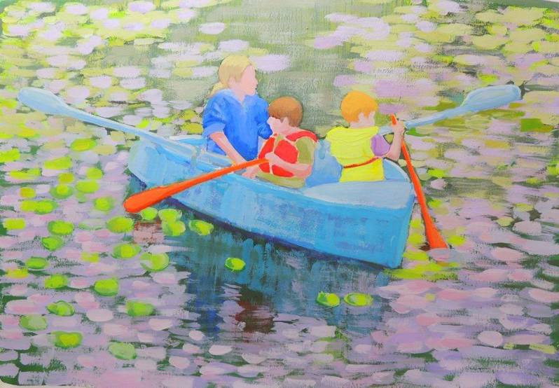 taking the rowboat out at friends lake, chelsea 18x24 -gouache