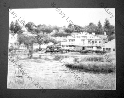 Weathervane Inn in Whitehall, MI 18x24 -charcoal