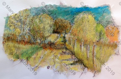 Plein aire sketch of our road