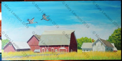 Mary Lewison Neighbor_s Barns Acrylic 15x30