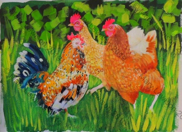 3 of our chickens 18x24 -gouache